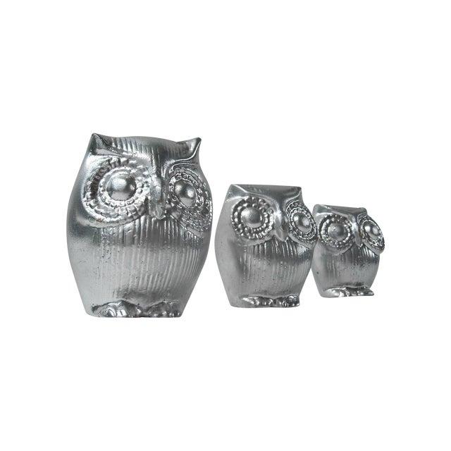 Mid-Century Silver Owl Figurines - Set of 3 - Image 1 of 5