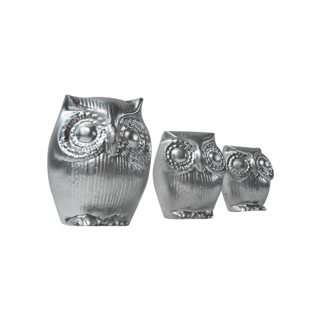 Image of Mid-Century Silver Owl Figurines - Set of 3