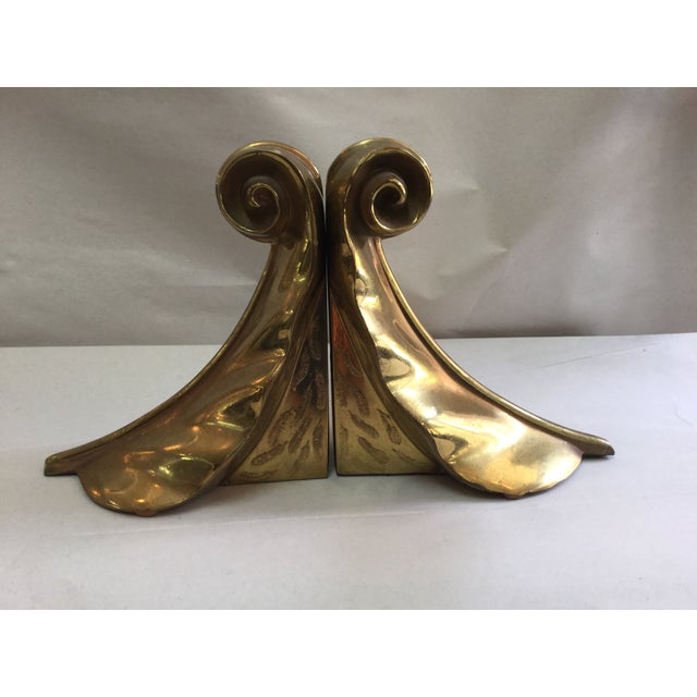 Image of 1960's Modern Ben Siebel Style Brass Leaf Bookends