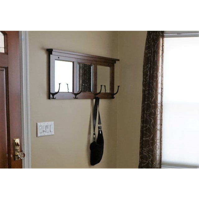 Wall Mount Entry Maple Wood Mirror Coat Rack