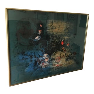 Framed Abstract Modern Lithograph