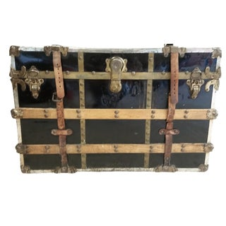 Antique Black Steamer Trunk