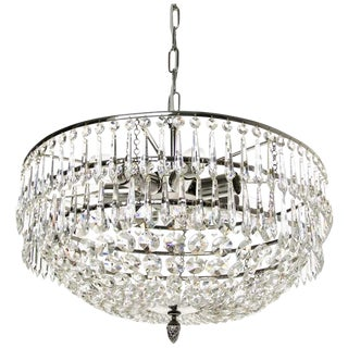 Nickel Almond and Drop 42cm Chandelier