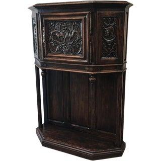 French Antique Gothic Oak Vestry Cabinet Server