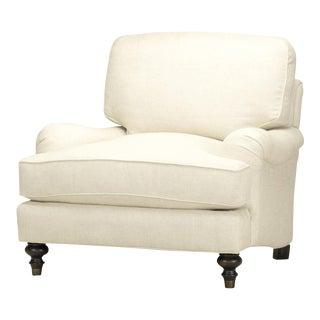 Spectra Home Traditional English Rolled-Arm Linen Chair