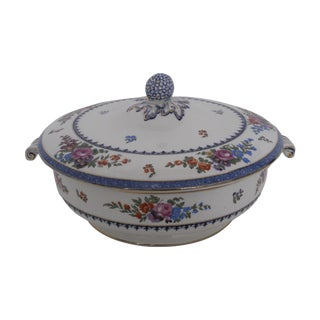 English Traditional Hand-Painted Vegetable Tureen