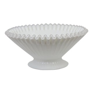 Fenton White Scalloped Edge Glass Bowl