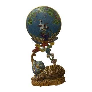 Vintage Chinese Fengshui Toad Metal Enamel Cloisonne Moon Display