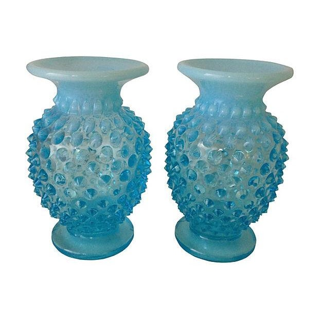 Image of Turquoise Glass Vases - A Pair