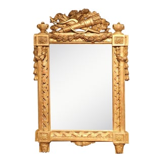 18th Century French Louis XVI Carved and Gilt Hall Mirror From Provence