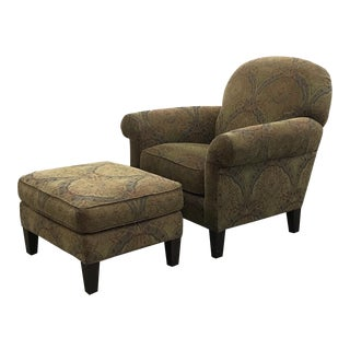 Floral Armchair and Ottoman Set