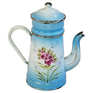 1930s French Hand-Painted Porcelain Cafetière