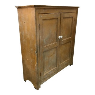 Antique Yellow Distressed Paint Armoire