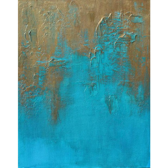 """Original """"Bronzed Earth II"""" Abstract Modern Turquoise Blue Bronze Metallic Textured Painting on Canvas - Image 4 of 4"""