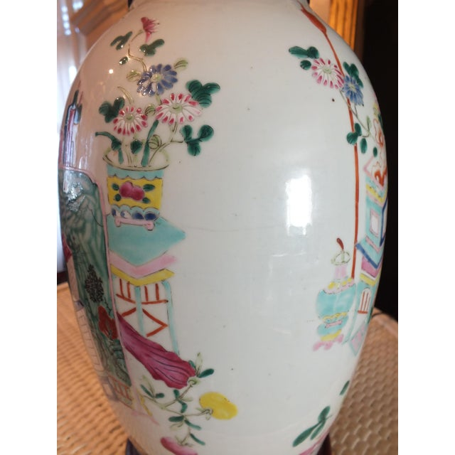 Antique Asian Famille Rose Lamp - Image 9 of 11