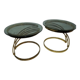 Milo Baughman Style Brass & Glass Asymmetrical Side Tables - A Pair