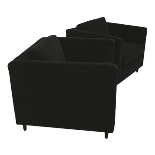Mid-Century Modern Harvey Probber Style Pair of Black Velvet Tuxedo Club Chairs