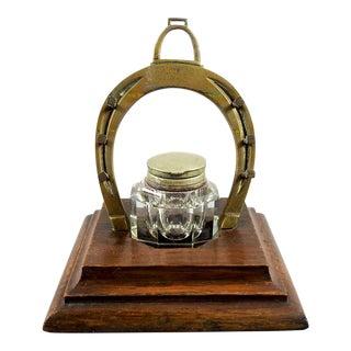 Antique Brass Horseshoe Inkwell