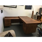 Image of Attributed to Knoll Walnut L Shaped Desk