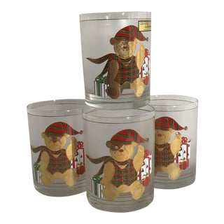 Culver Christmas Glasses Culver Frosted Teddy Bear 22k Trim Set of 4 Niob