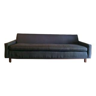 Mid-Century Modern Grey Wool Sofa