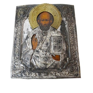 Antique Russian Icon of St. Nicholas Painting
