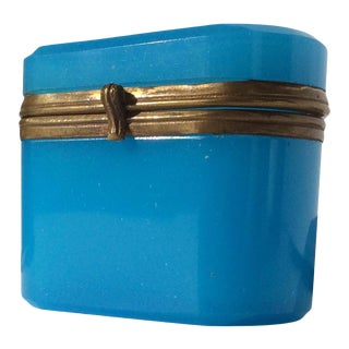 Antique French Blue Opaline Box