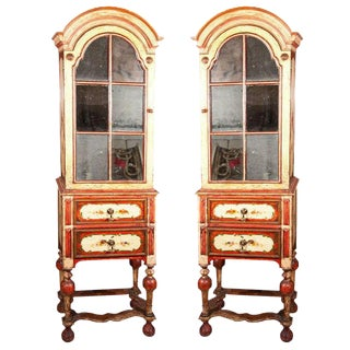 William & Mary Style Painted Cabinets - A Pair