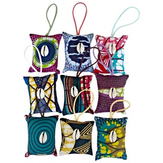 African Wax Print Pillow Ornaments - Set of 10