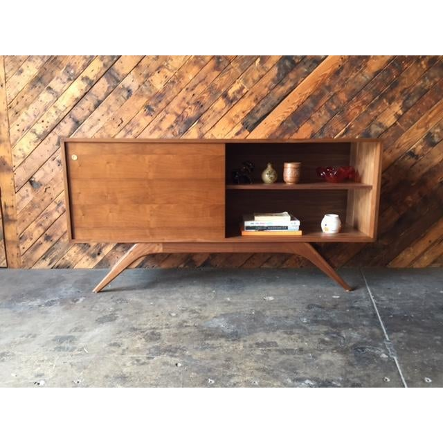 Mid Century Style Custom Walnut Sculpted Base Credenza - Image 3 of 9