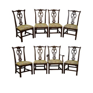 Vintage Ethan Allen Solid Cherry Georgian Court Chippendale Style Dining Chairs - Set of 8