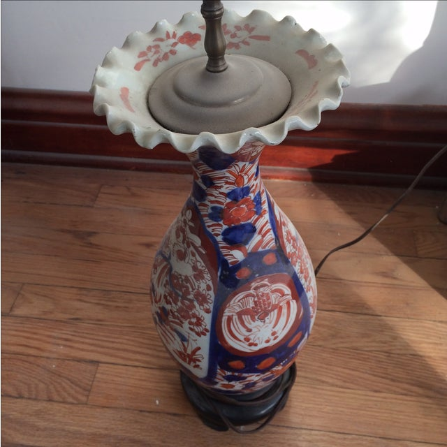 Antique Chinese Red & Blue Porcelain Table Lamp - Image 5 of 11