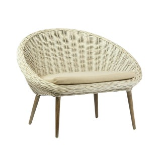 White Rattan Chair with Cushion