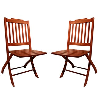 Lynx Solid Rosewood Folding Accent Chairs - A Pair