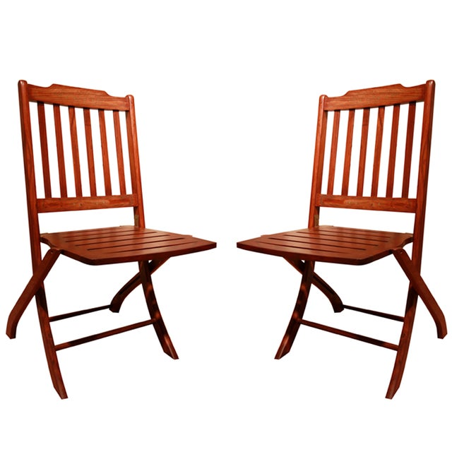 Make A Folding Chair An Accent Chair: Lynx Solid Rosewood Folding Accent Chairs - A Pair