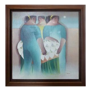 'Las Floristas' Cuban Painting