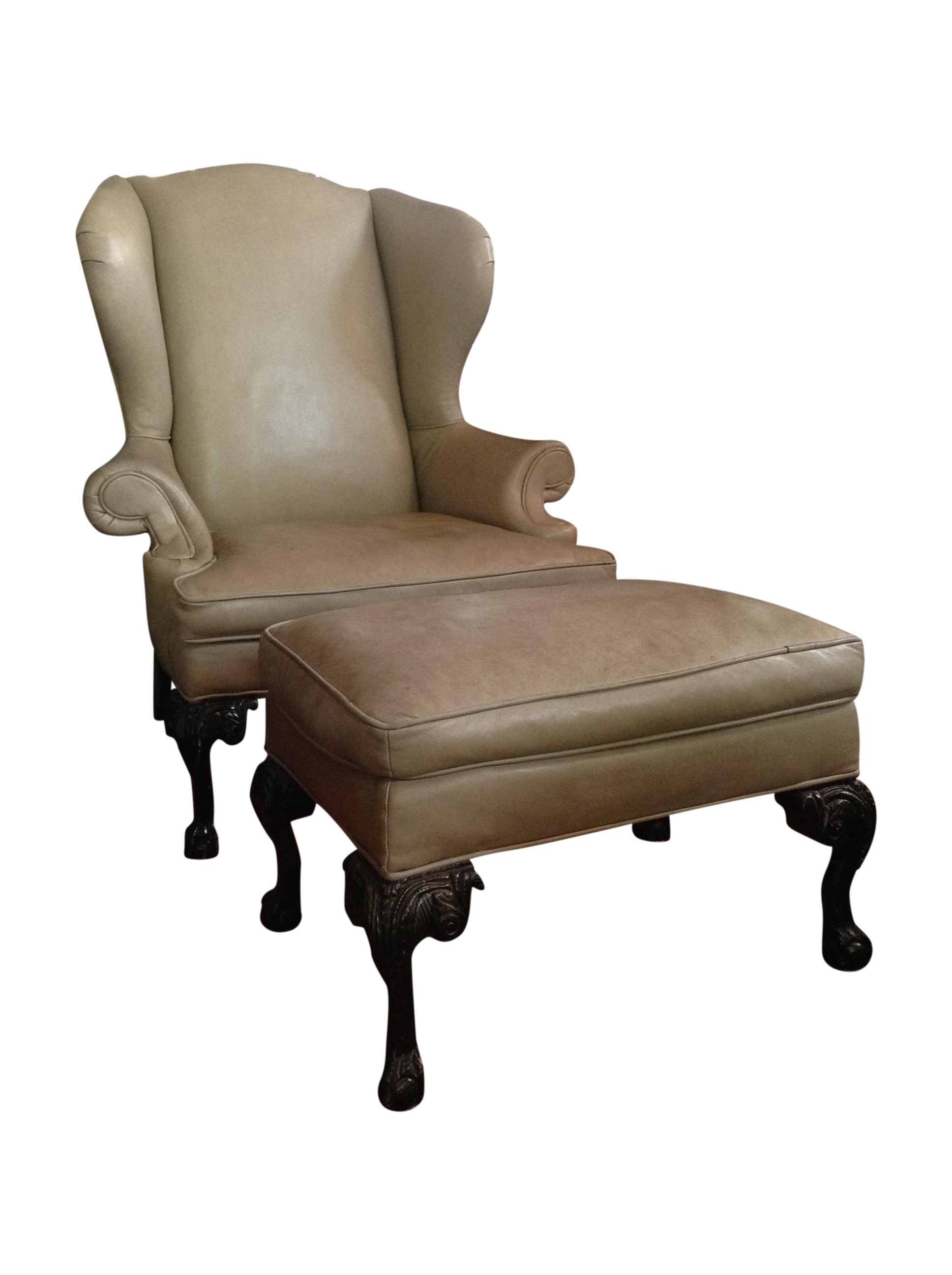 Leather Wingback Chair and Ottoman