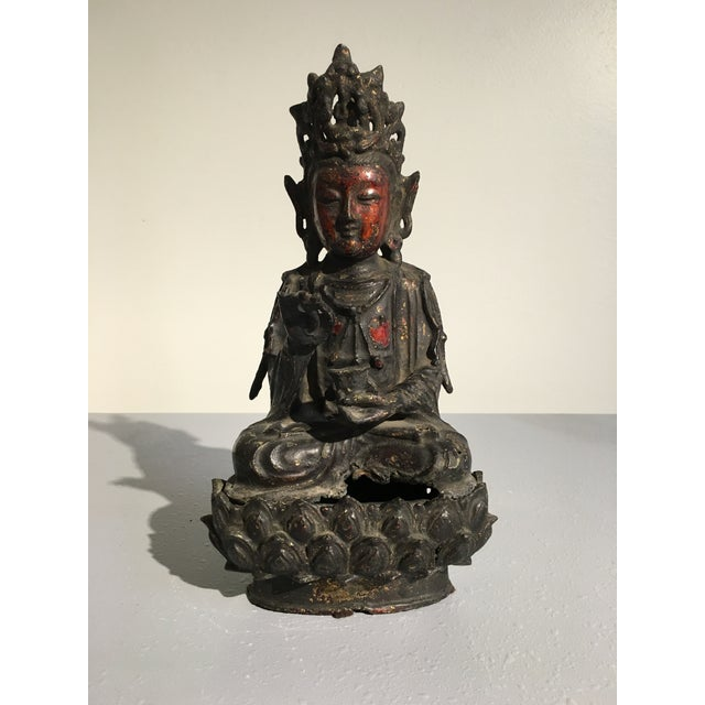 Chinese Lacquer Gilt Bronze Figure of Guanyin, late Ming Dynasty - Image 2 of 11