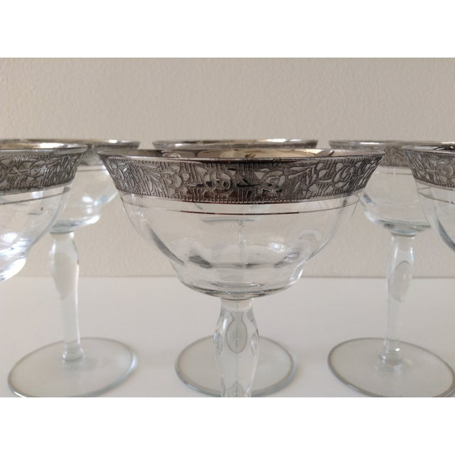 Sterling Floral Etched Cut Champagne Coupes- Set of 6 - Image 7 of 8
