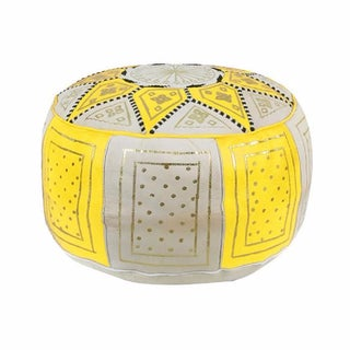 Fes Yellow Leather Pouf