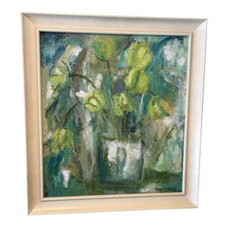 Vintage Oil on Canvas of Turquoise Green Flower Pot