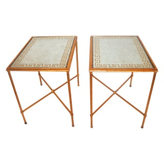 Contemporary Gilded Greek Key End Tables - A Pair