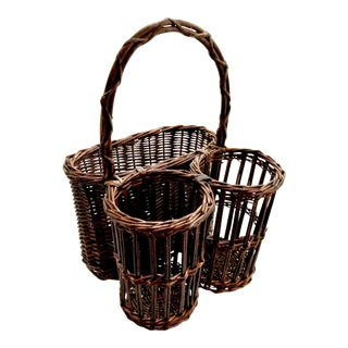 Vintage Rattan and Wicker Wine and Picnic Basket