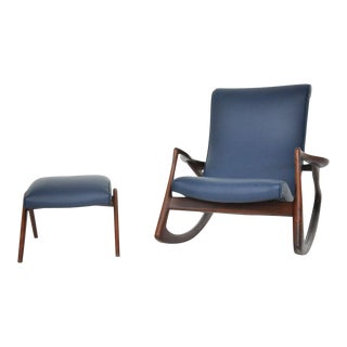 Vladimir Kagan Rocking Chair with Ottoman