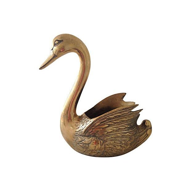 Image of Brass Swan Planter Cachepot