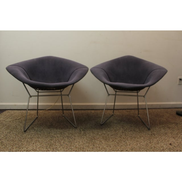 Bertoia Mid-Century Blue Diamond Chairs - Pair - Image 6 of 11