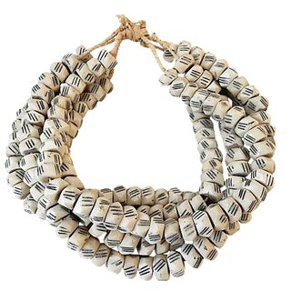 African Faceted Trade Bone Beads - Set of 5
