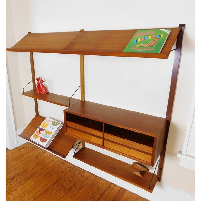 Danish Modern Teak Floating Adjustable Desk Wall Unit Bookcase by Carlo Jensen for Hundevad & Co - Image 4 of 9