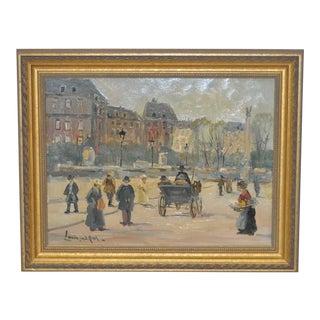 1920s Vintage Original European Street Scene Painting by Louis van der Pol