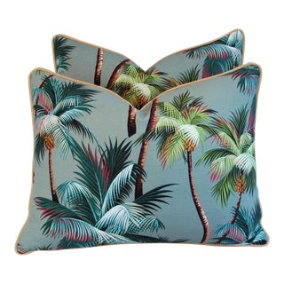 Oasis Palm Tree Barkcloth & Velvet Pillows - Pair